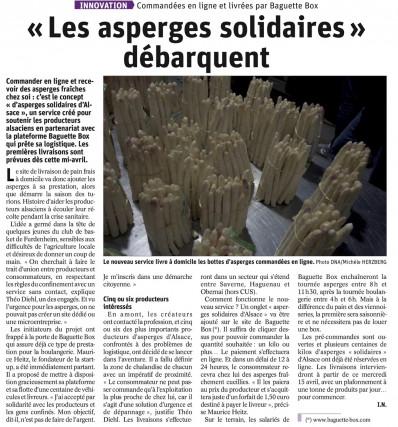 DNA / l'Alsace.fr - Les asperges solidaires d'Alsace débarquent